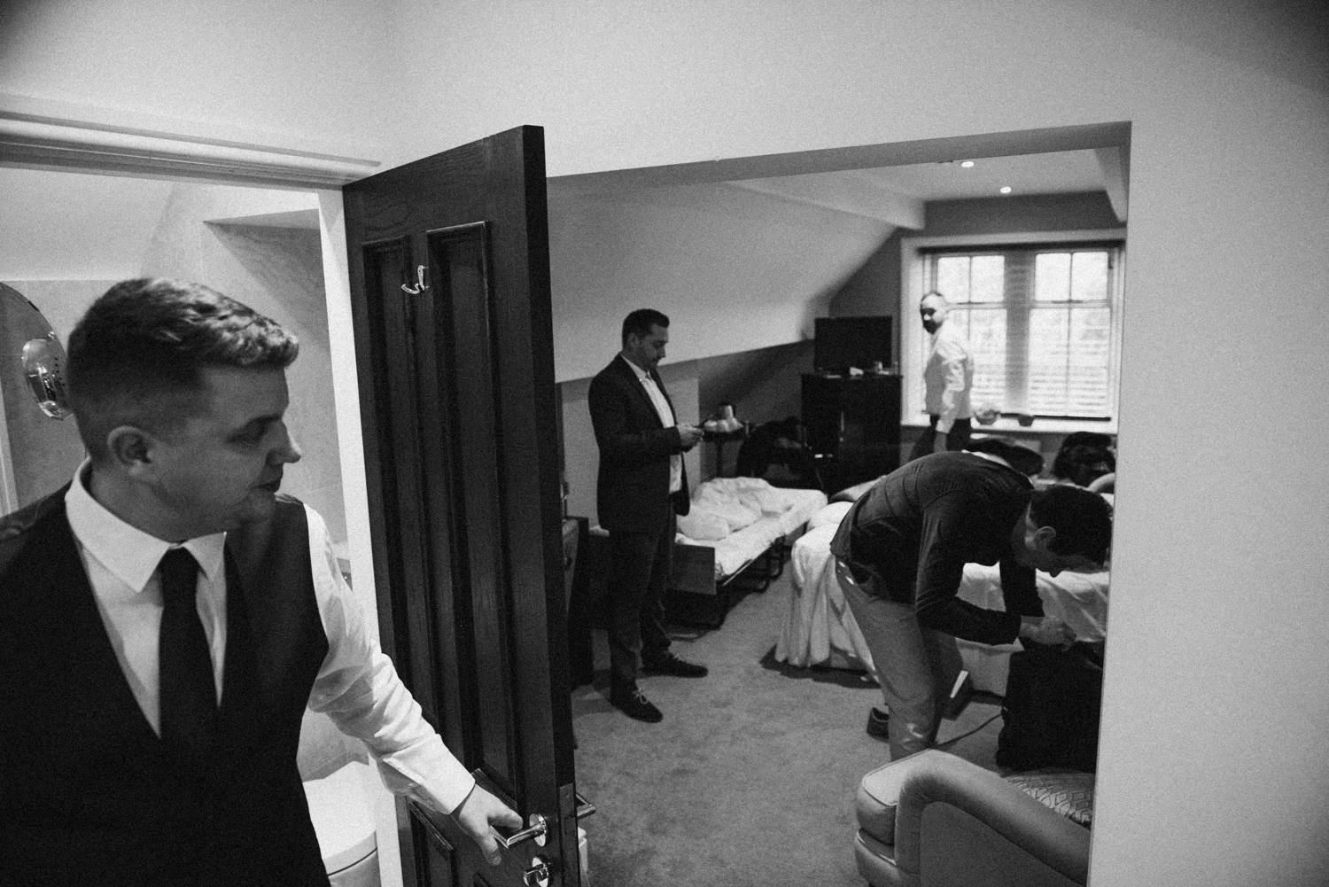 Grooms party getting ready at leeds wedding venue