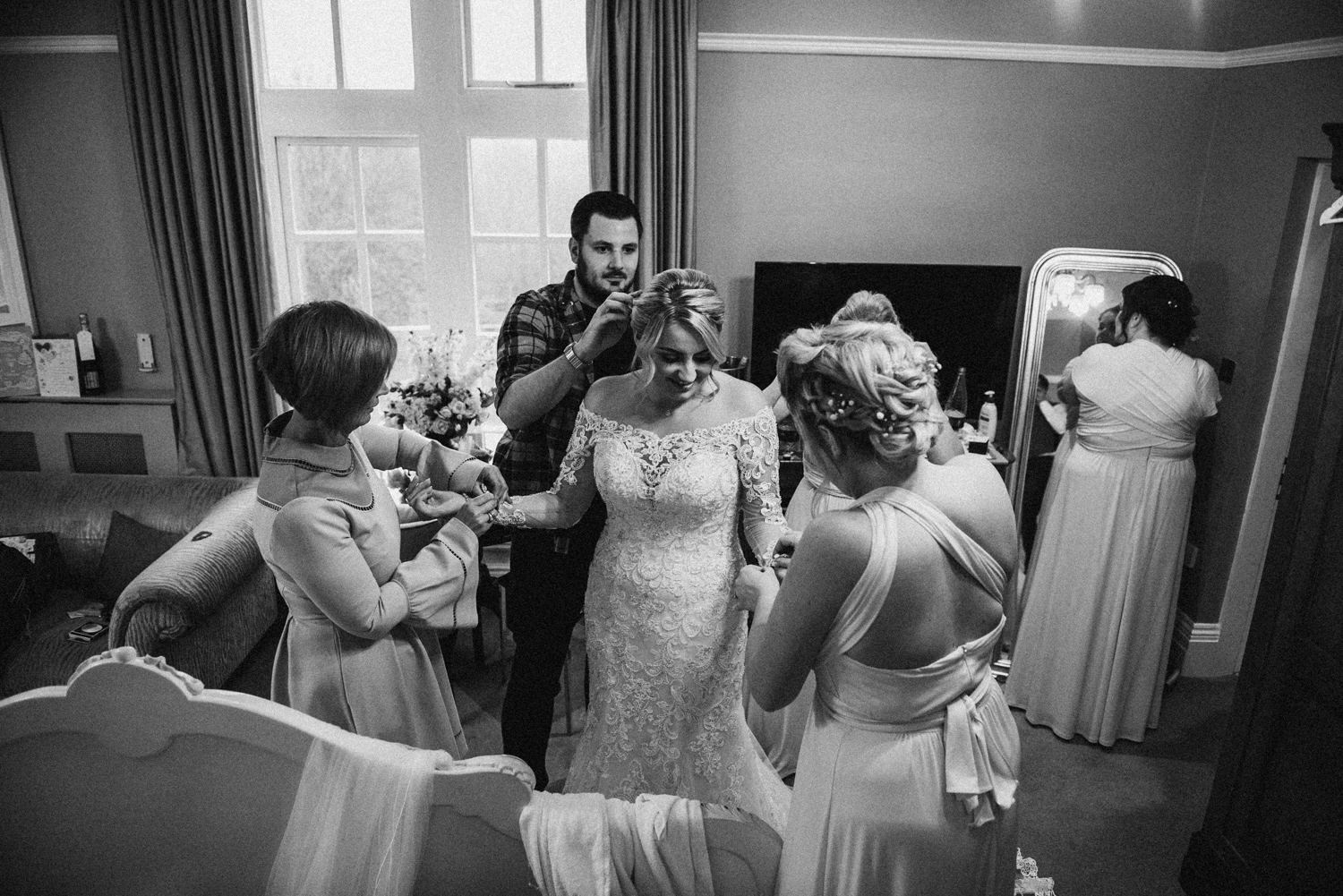 Unique black and white image of the bridal party