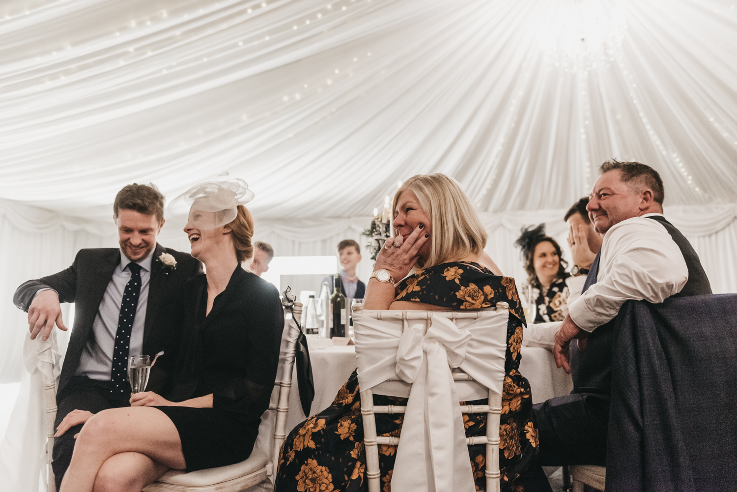 Wedding guests crying