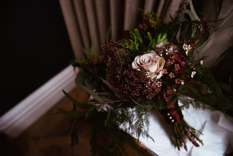 Wedding bouquet in window light