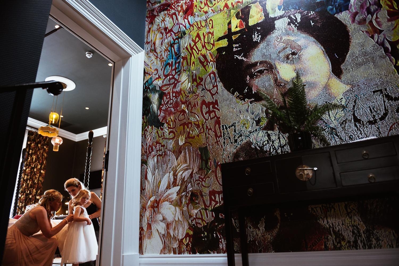 Mural wallpaper at Manor House Lindley