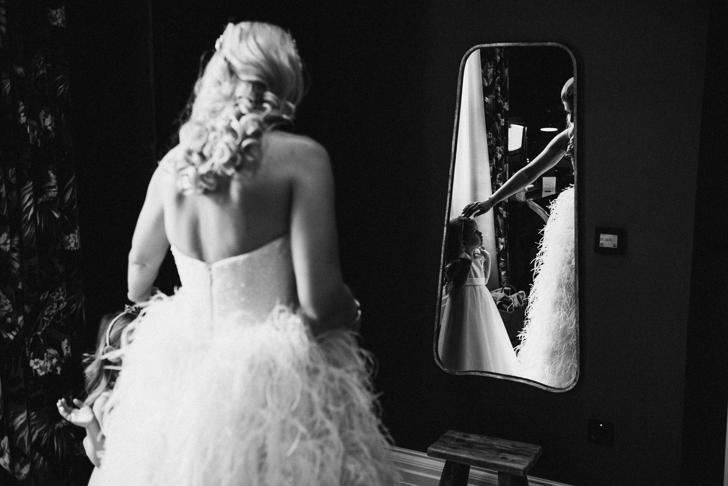 Touching moment between bride and her daughter