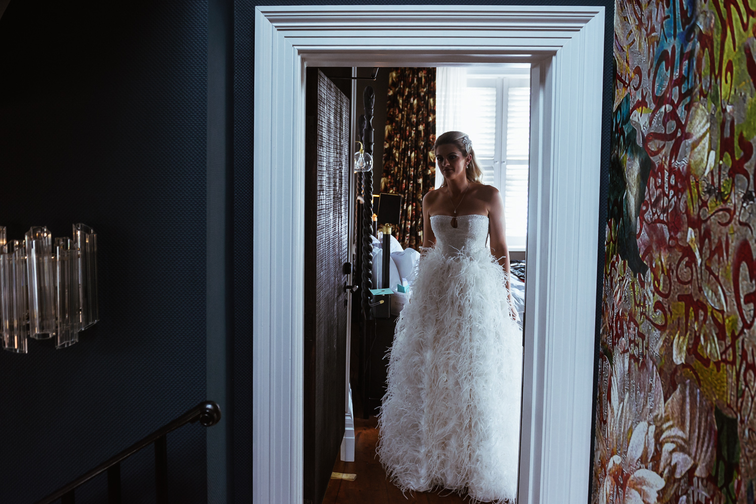 Bride revealing dress to her father