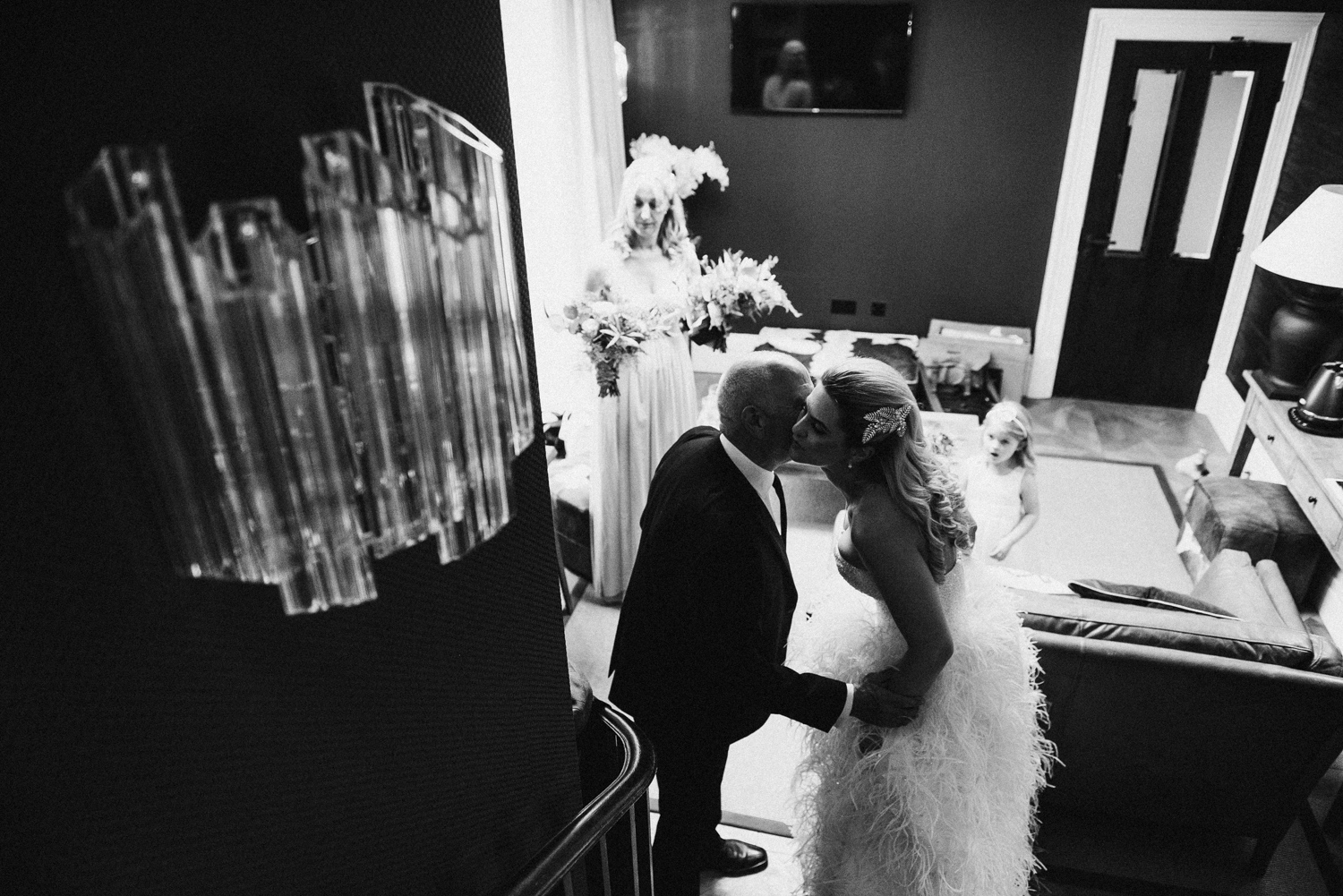 Bride kissing her father