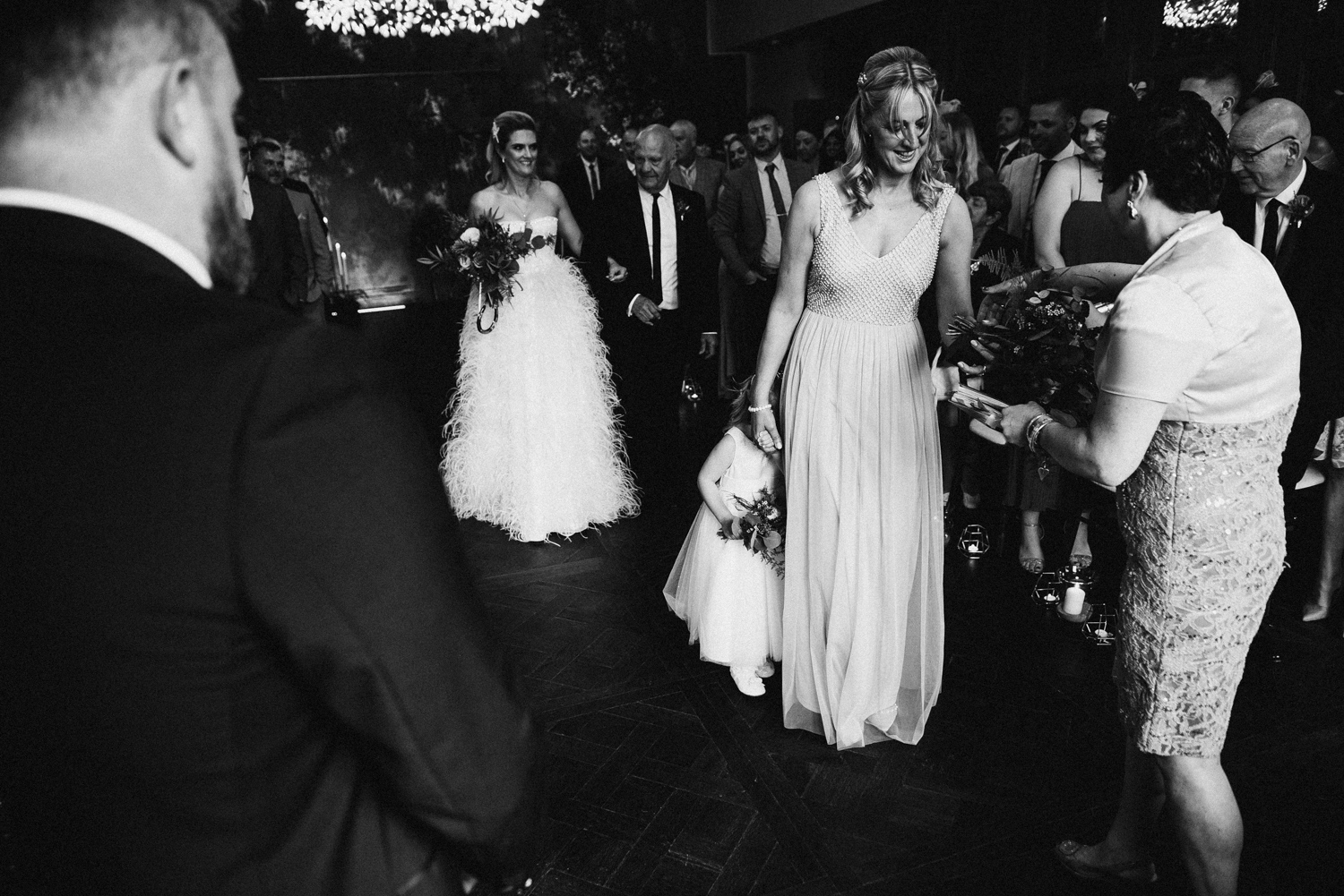Bride making her way down the aisle