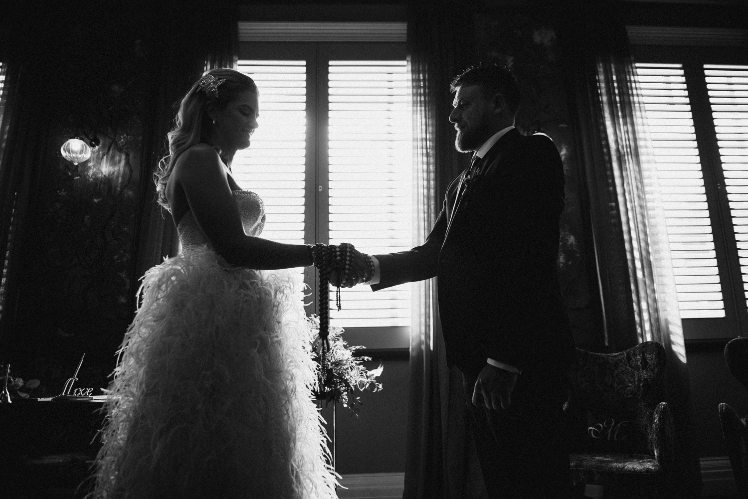 creative silhouette of bride and groom