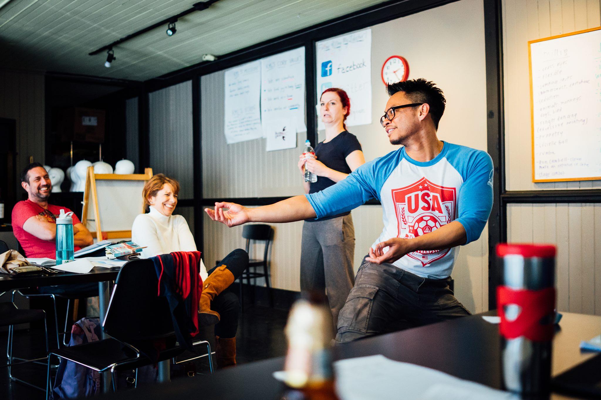 Writer Gina Bardi & actors Elaine Gavin & Justin Lucas rehearsing for Body Talk