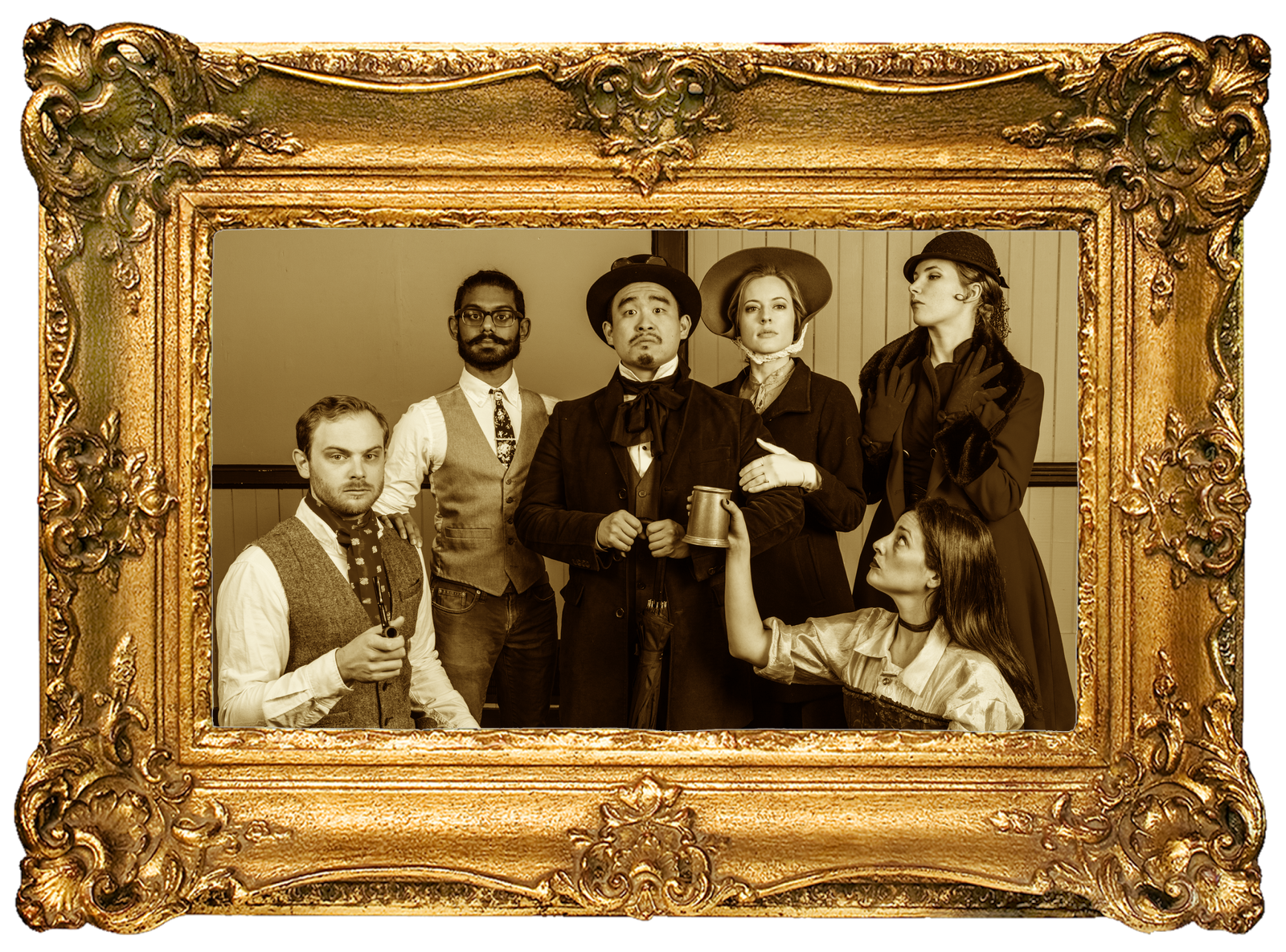 The cast of Bag of Dickens: Ray Hobbs, Tirumari Jothi, Phil Wong, Leah Shesky, Nicole Odell, & Jan Gilbert