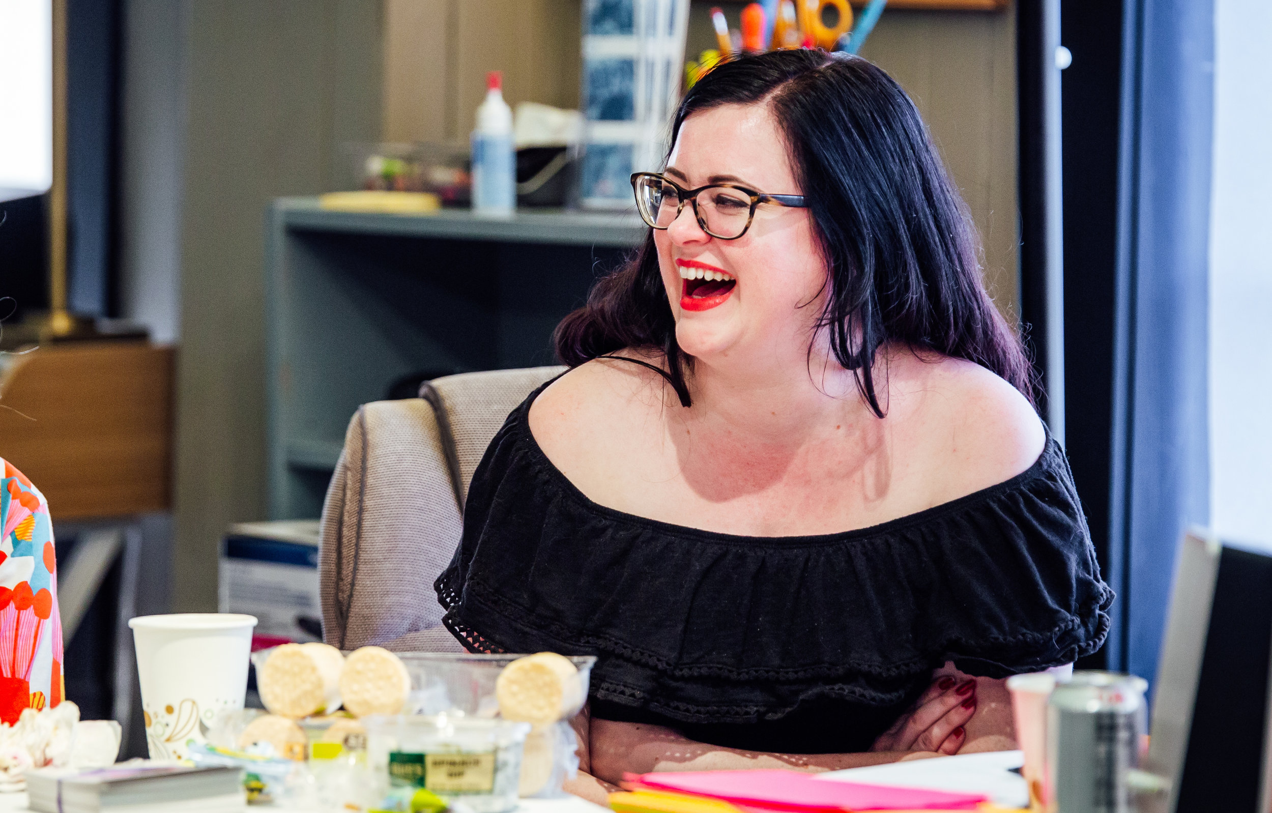 Allison at a writers meeting. Photo by James Jordan Pictures.
