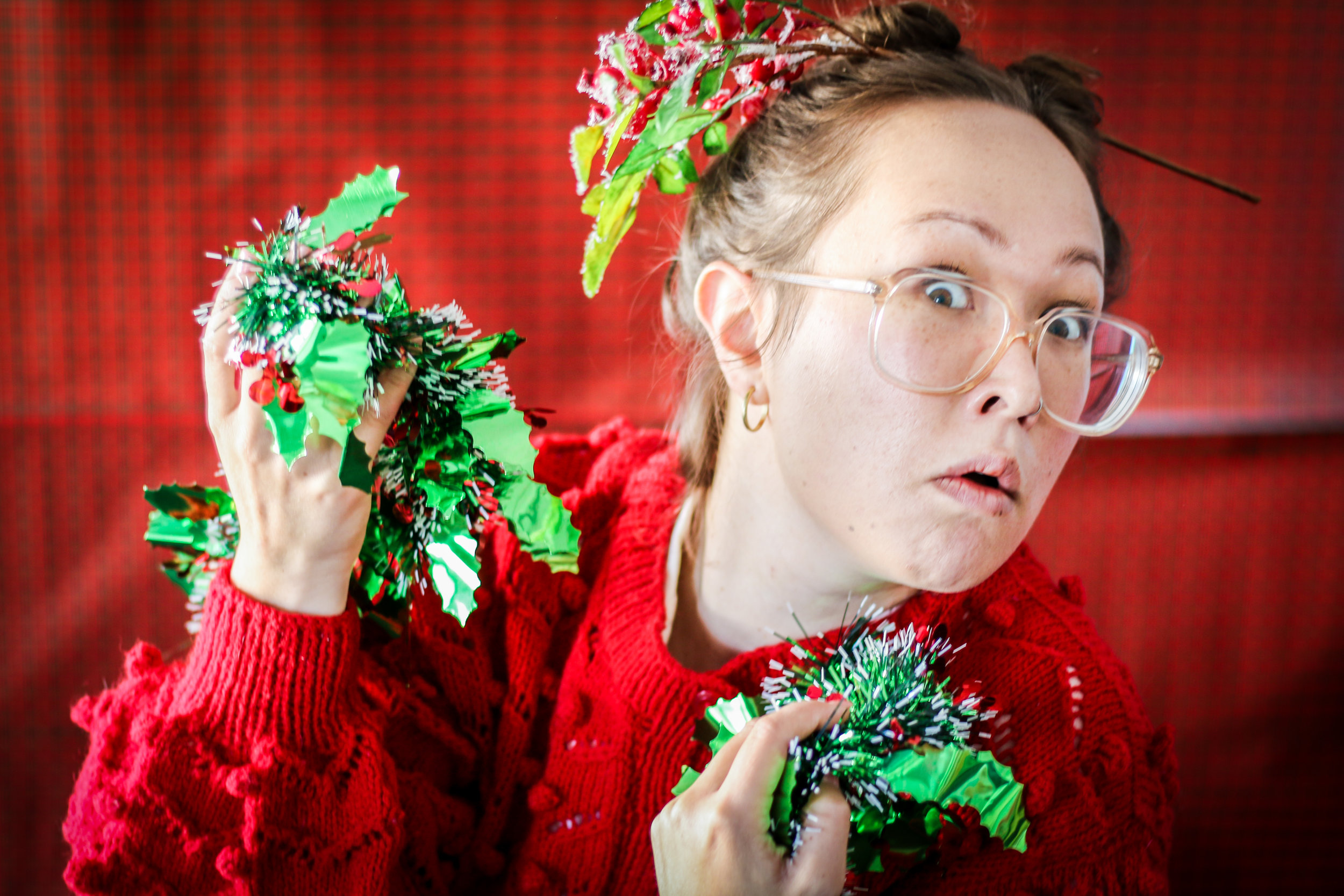 Jenny Nelson covered in mistletoe. Photo by Rebecca Hodges.