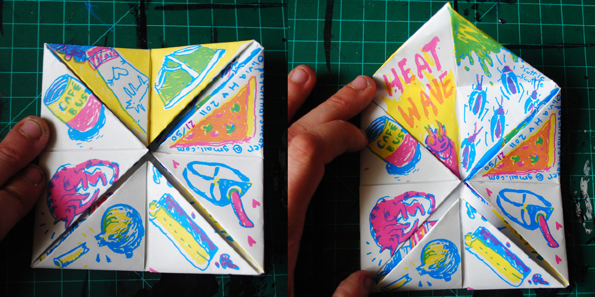 SUMMER FOREVER WAREHOUSE LIVING COOTIE CATCHER (2011)   screenprinted fortune telling toy, edition of 50     PRINT YOUR OWN