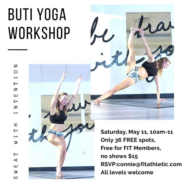 COMPLIMENTARY @butiyoga workshop @fitathletic, Solana Beach!  THIS Saturday, May 11, 10am-11am Only 36 spots so you MUST RSVP! Reserve your mat with connie@fitathletic.com All levels welcome. (no shows $15) Sponsored by @perfektzero Tthe worlds lowest calorie alcoholic beverage & @prepleanmealprep !⚡️ . . . . . . . . #butiyoga #yoga #yogagirl #sandiego #fitathletic #themovementlab #workshop #yogaeverydamday #sweatwithintention #yogafitness #fitness #yogadance