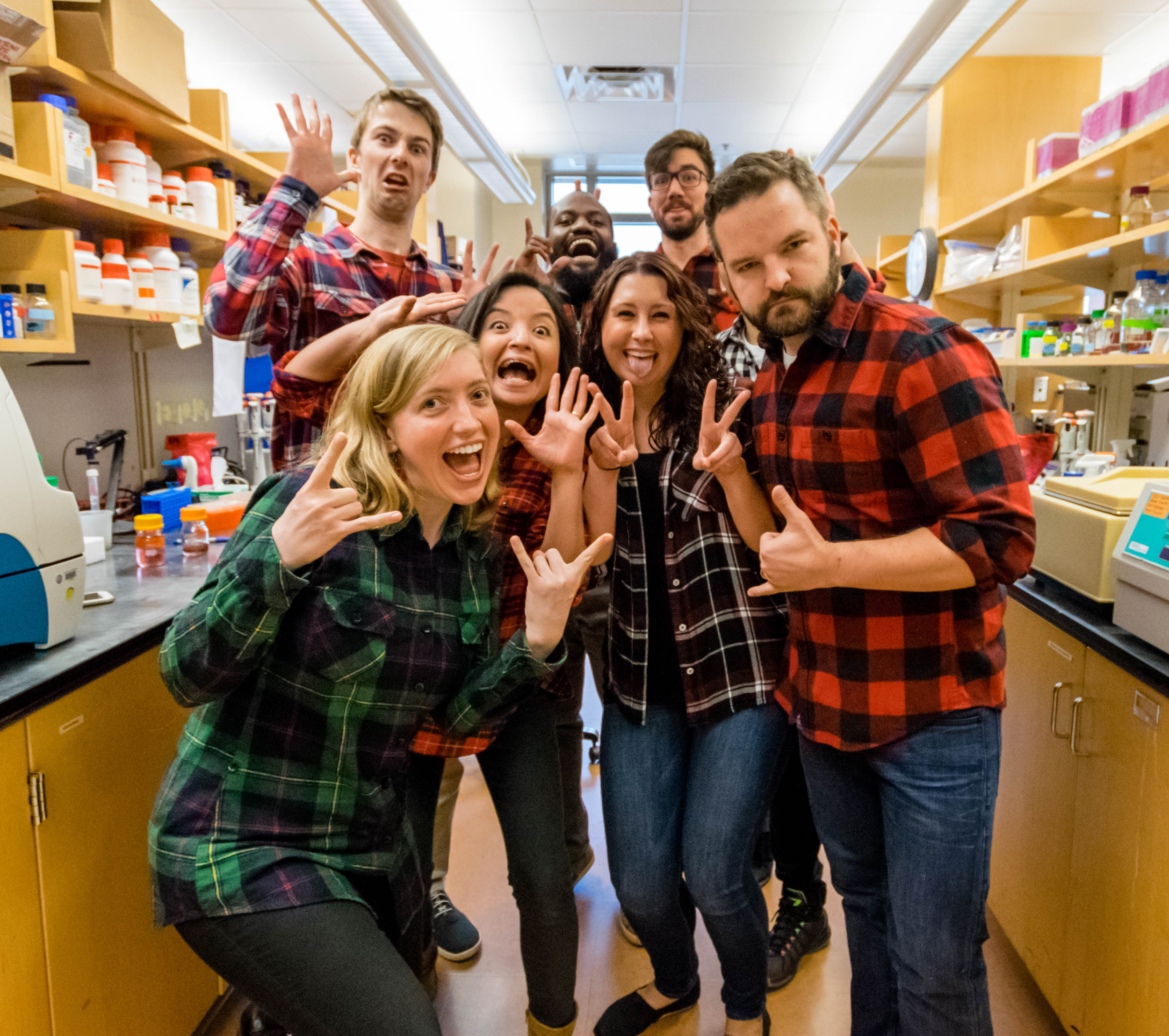 """The Delgoffe lab, rocking the """"lumberjack scientist"""" look."""