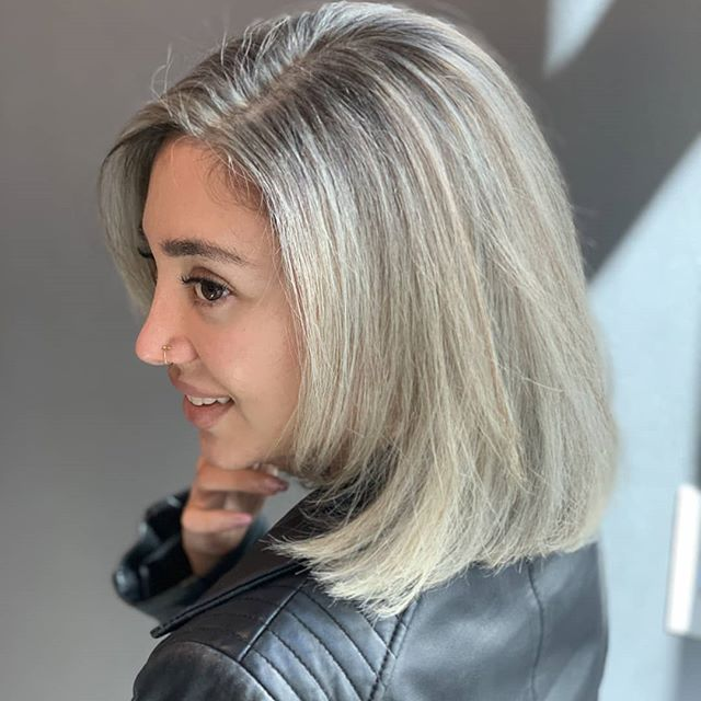 Adelina visited us today ! She is looking so fierce in that smokey silver bob!! Hair color by salon owner and hair artist, Sierra ! Come visit us over @ Hook + Scissor for customized color + cuts :] #hookandscissorsf #hookandscissor #sf #scruples #scruplescolor #powerblonde #highlights #bob #healthyhair #modernsalon #downtownsf #sfsalon #sfhair #silverhair #ash #ashblonde #hairwithflavor #ashy #smokedouthighlights #brightedup #healthyhair