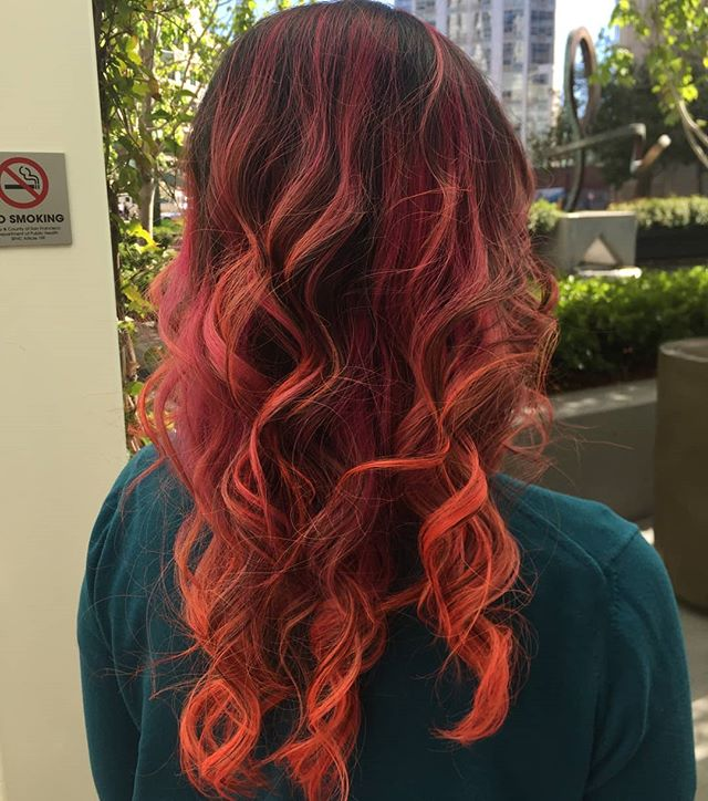 🧡Vivid orange and coral creative color by our hair artist, Gloria! :]🧡 She really killed this hair color! 🤟  come by Hook + Scissor for your very own head turning color + cut.  #sfstylist #stylist #hookandscissor #hairartist #hairart #newlook #coral #orange #colorblend #playingwithcolor #creativecolor #hairdresser #sfhair #colortransformation #newdo #cute #curlygirl #curled #curledup #longhairbalayage #balayage #ombre #fashioncolors #pulpriot #colorpop #dramaticcolor #seeingorange #yes