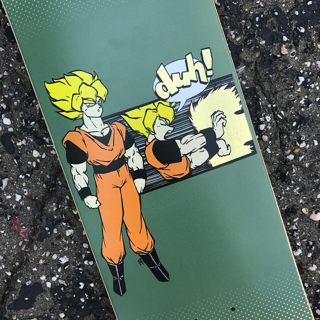 """Our latest shop deck is a throwback graphic from the years when Daville was known as """"duh! skate shop"""". It's updated with a fresh colorway, a gold foil print, and the Daville name. Available now In store or on www.davilleskateshop.com"""