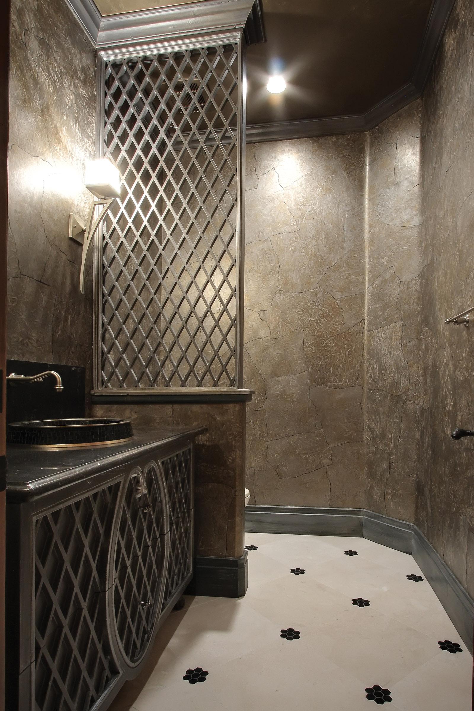 Transitional Lattice Door Powder Bathroom