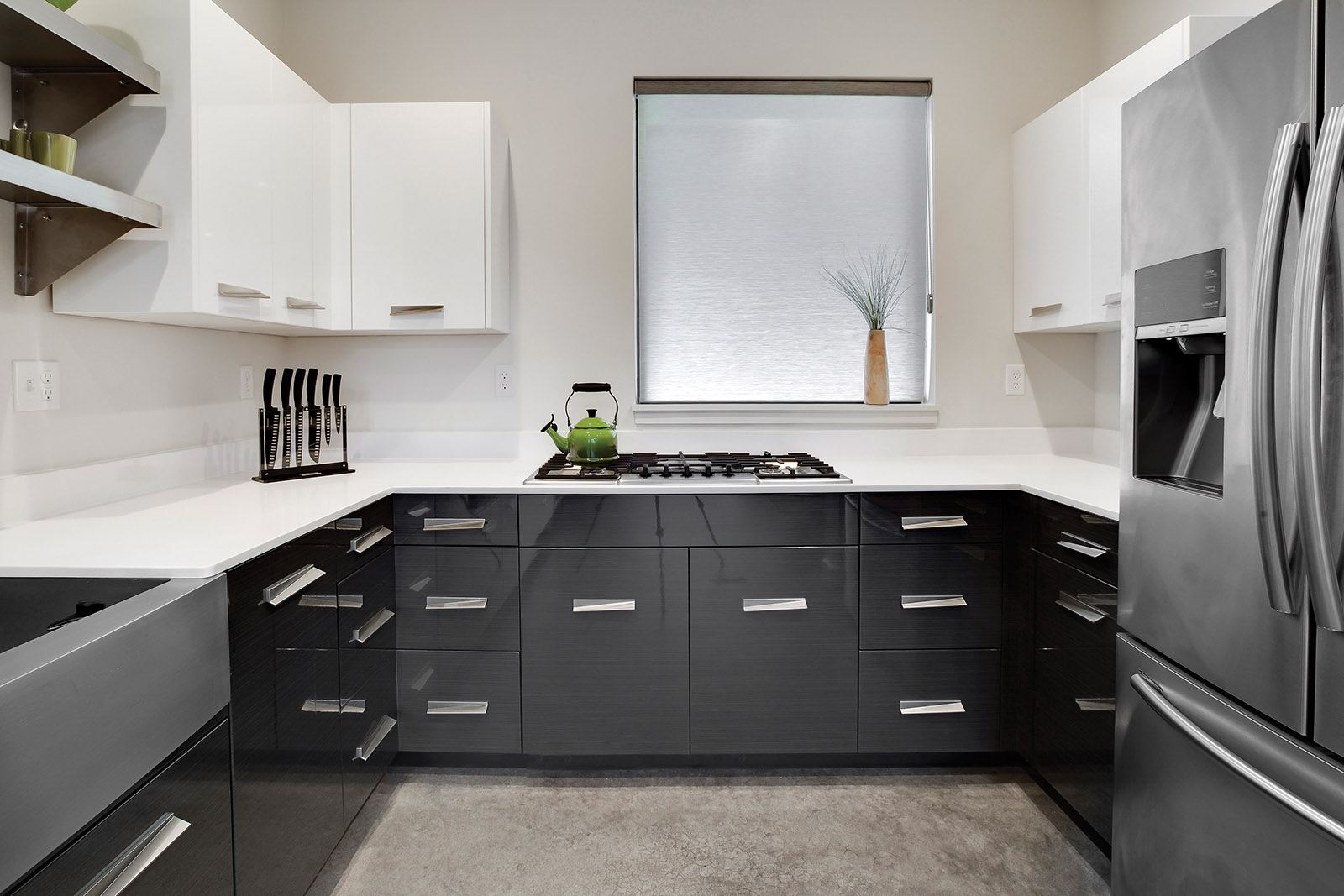 Loft Contemporary Kitchen Cabinets: White & Gray