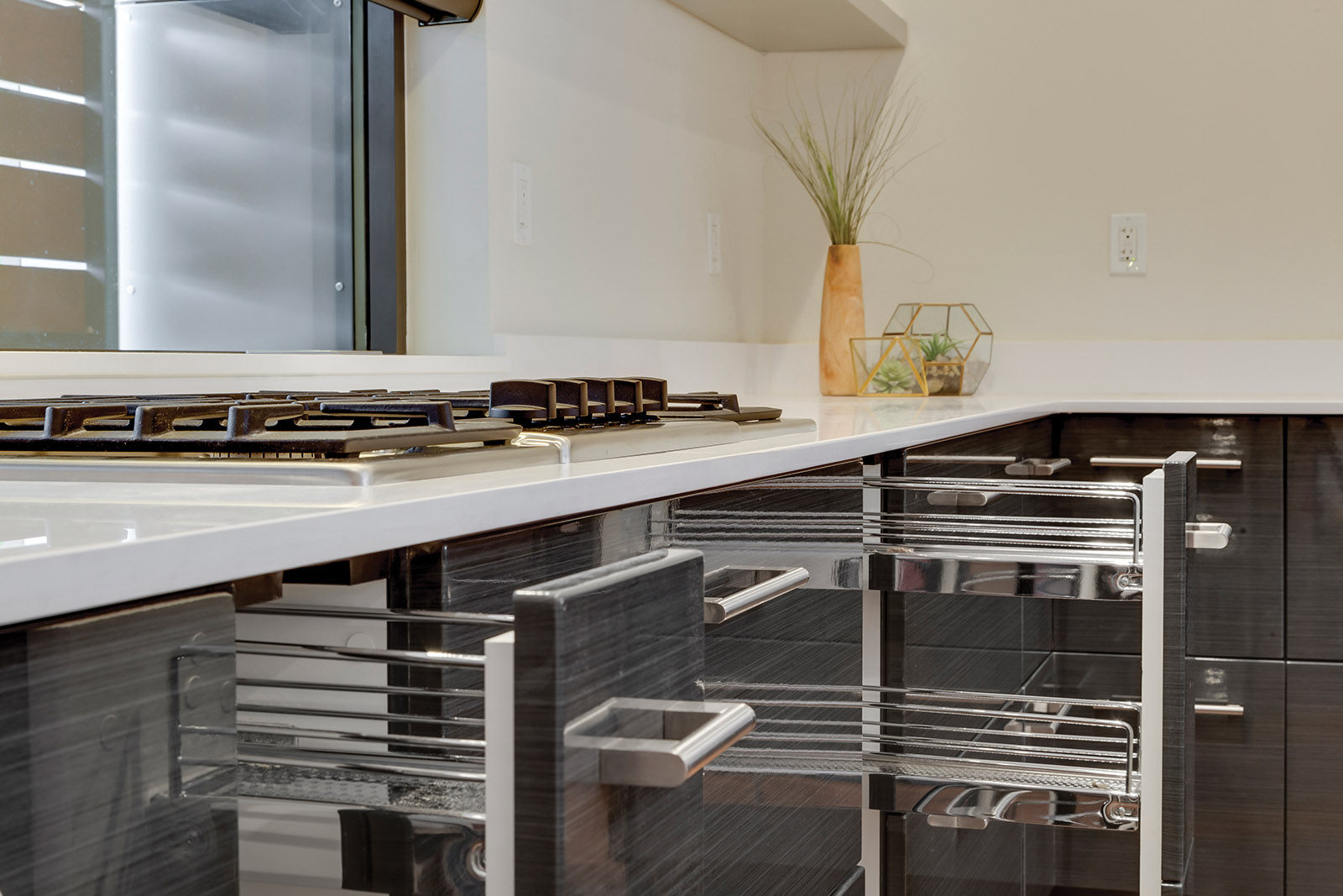 Loft Contemporary Kitchen Cabinets: Gray with Pull-Out Drawer Close-Up