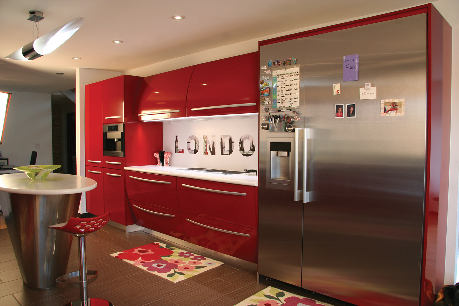 Contemporary Red High Gloss Kitchen