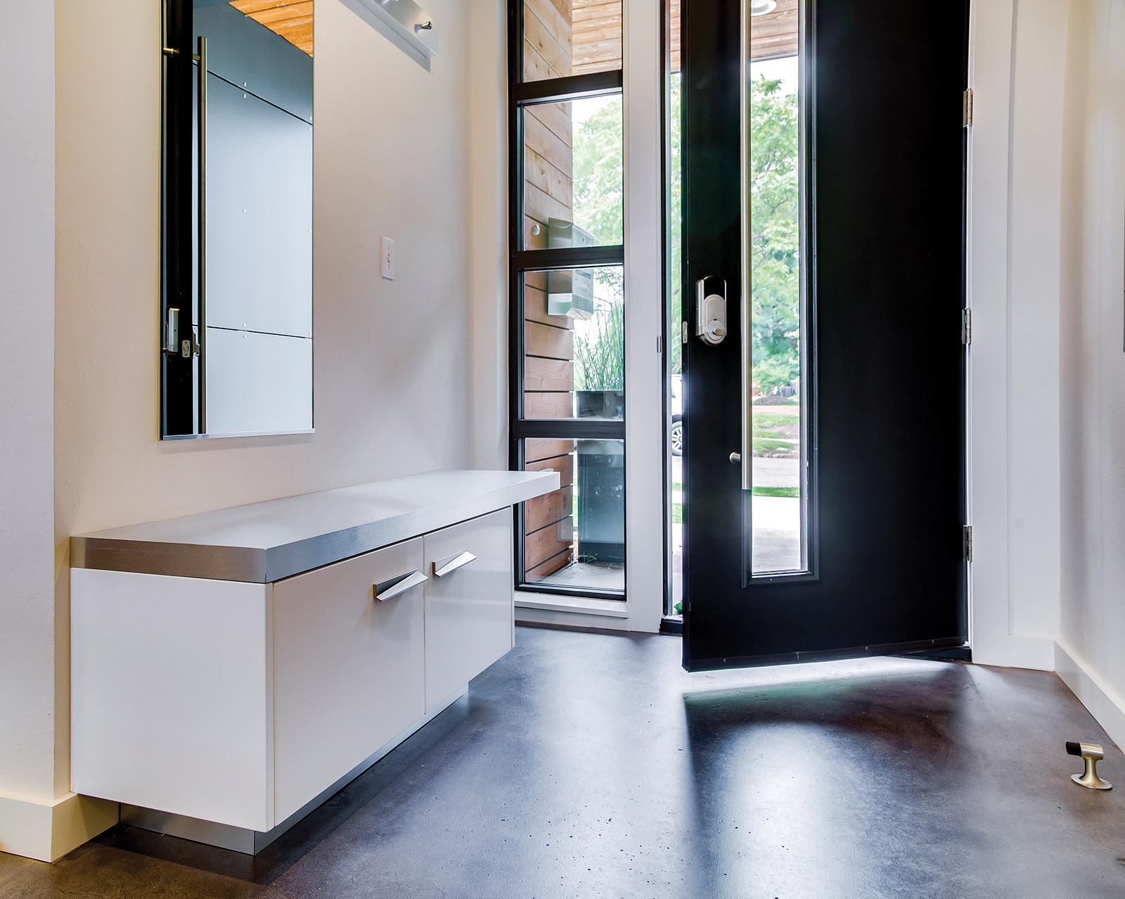 Loft Interior front entryway cabinetry