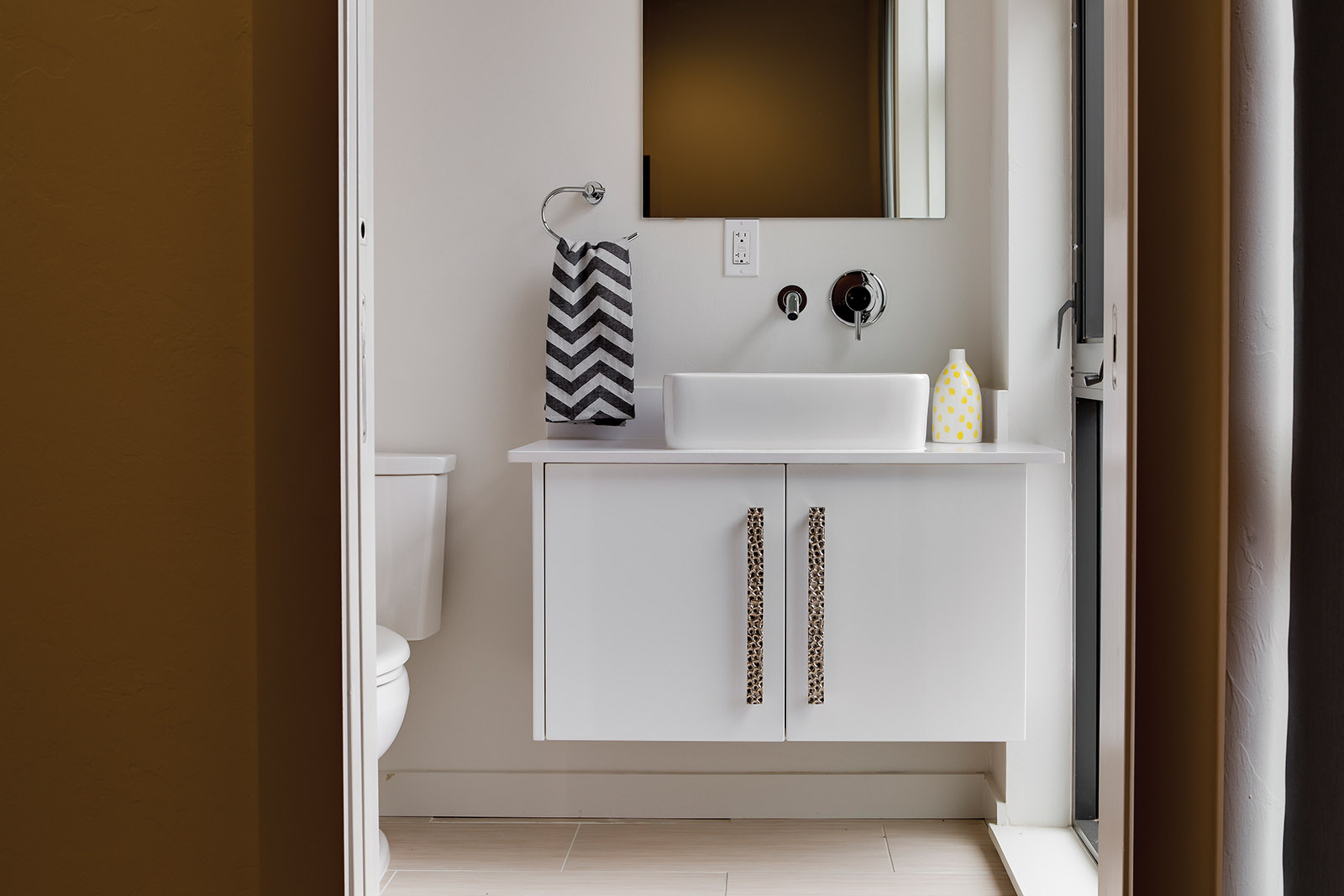 LOFT BATHROOM: White Cabinetry