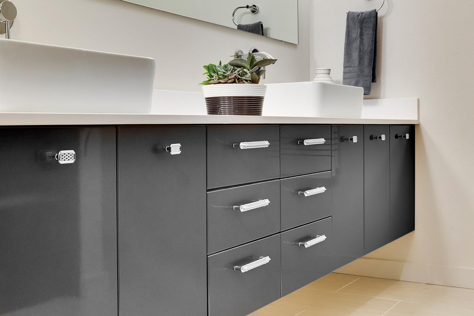 LOFT BATHROOM: Gray Cabinetry
