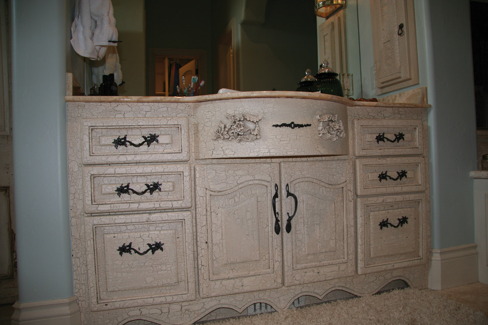 Old World White Bathroom Vanity