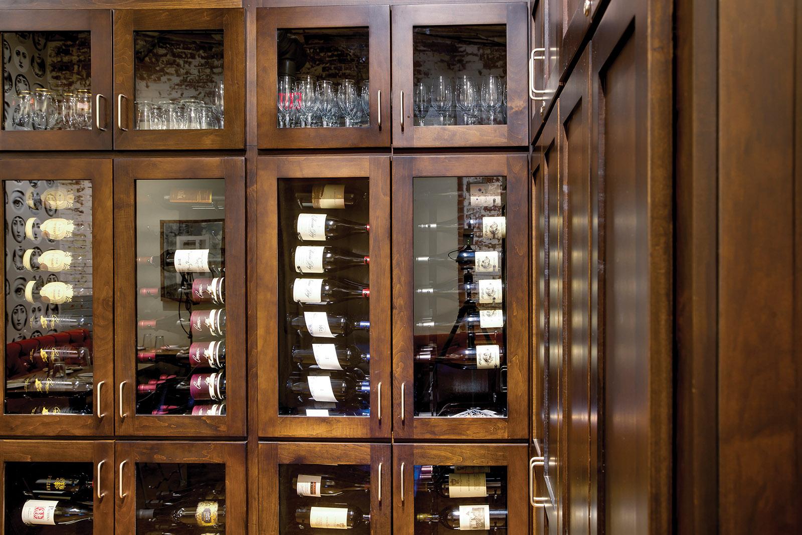 STELLA RESTAURANT: WINE STORAGE CABINETRY CLOSE-UP