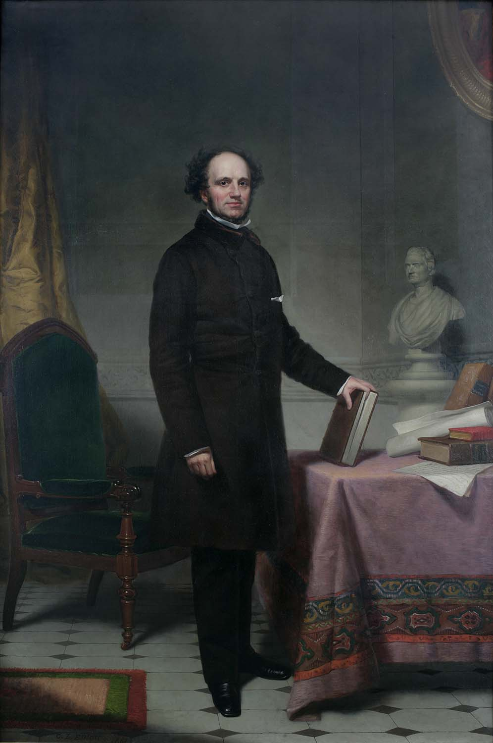 A racist campaign - New York Governor Horatio Seymour's portrait is prominently displayed in City Hall. Governor Seymour ran one of the most racist campaigns in presidential history. The campaign's motto was