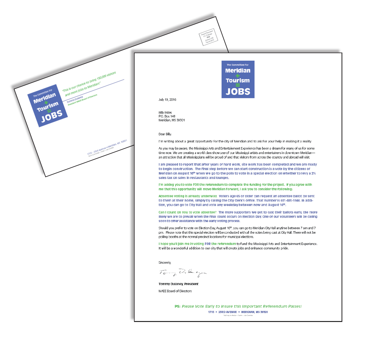 CAMPAIGN LETTER AND LETTERHEAD