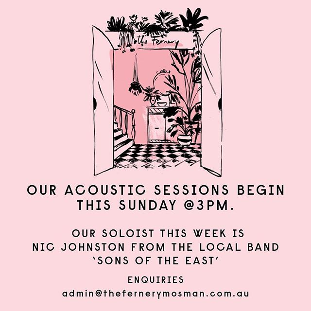 This Sunday we launch our first 'Acoustic Rooftop Sessions'  Nic Johnston from the acclaimed local band 'Sons Of The East' will be taking the mic from 3pm.  For more info email Admin@thefernerymosman.com.au 🌱❤️