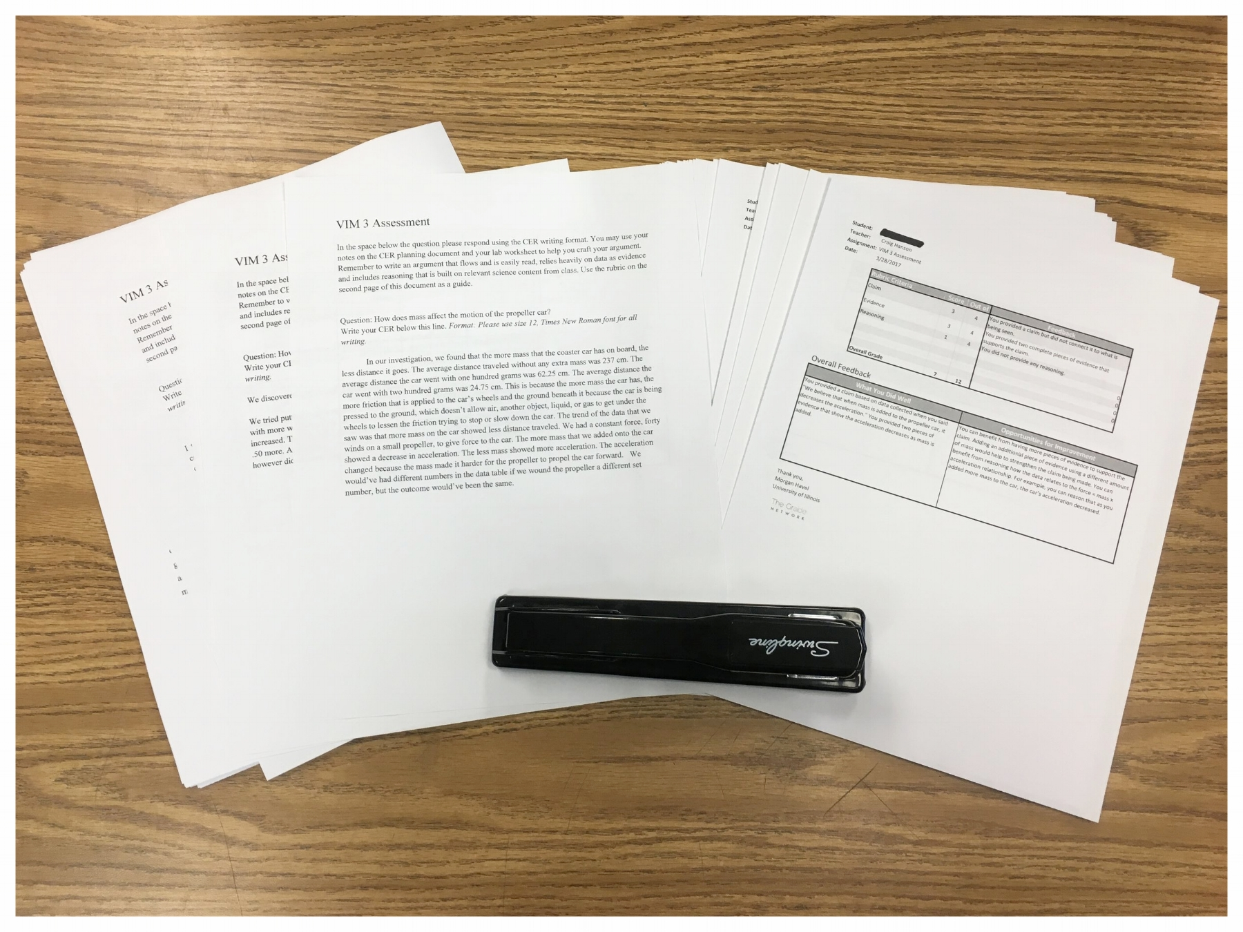 """""""When the score reports are returned I print them and hand them back to students either attached to their printed work or as the stand-alone individual score report."""""""