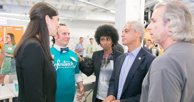 """ChicagoInno  8/13/2015  The Graide Network was selected the winner of the pitchfest through an audience vote.The companies were selected through open applications and were selected because they """"could have the most impact on education, on students, on helping to advance teaching in and out of the classroom,"""" said Lockett."""