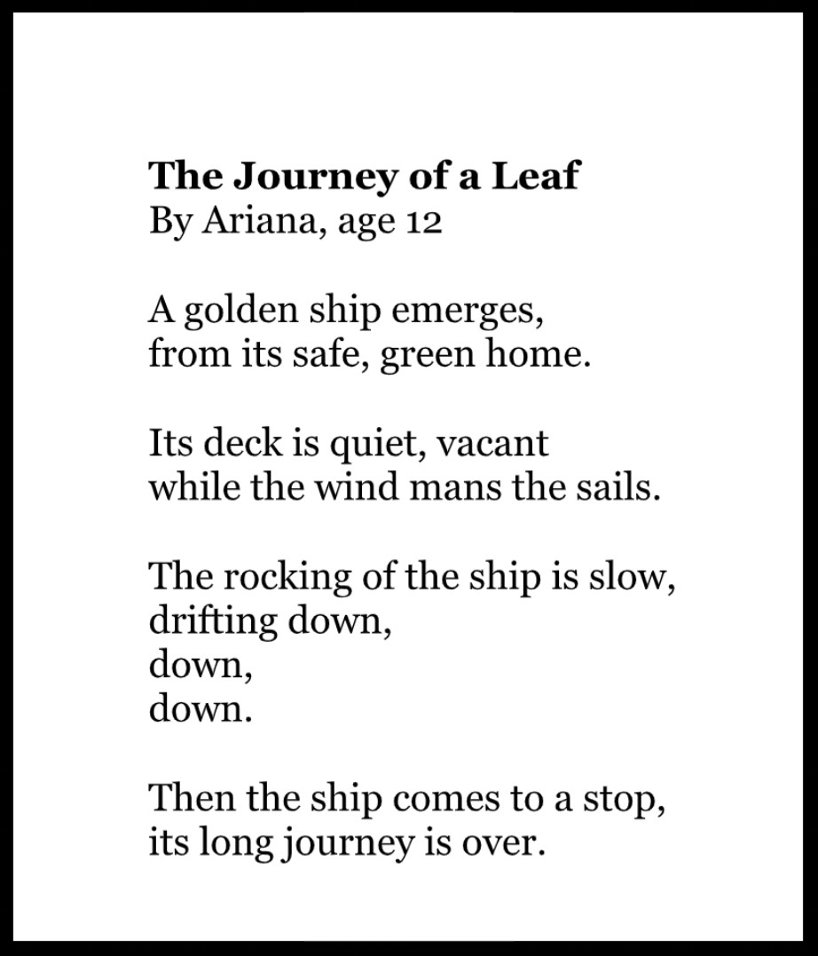 Ariana's love of writing poetry started at an early age.