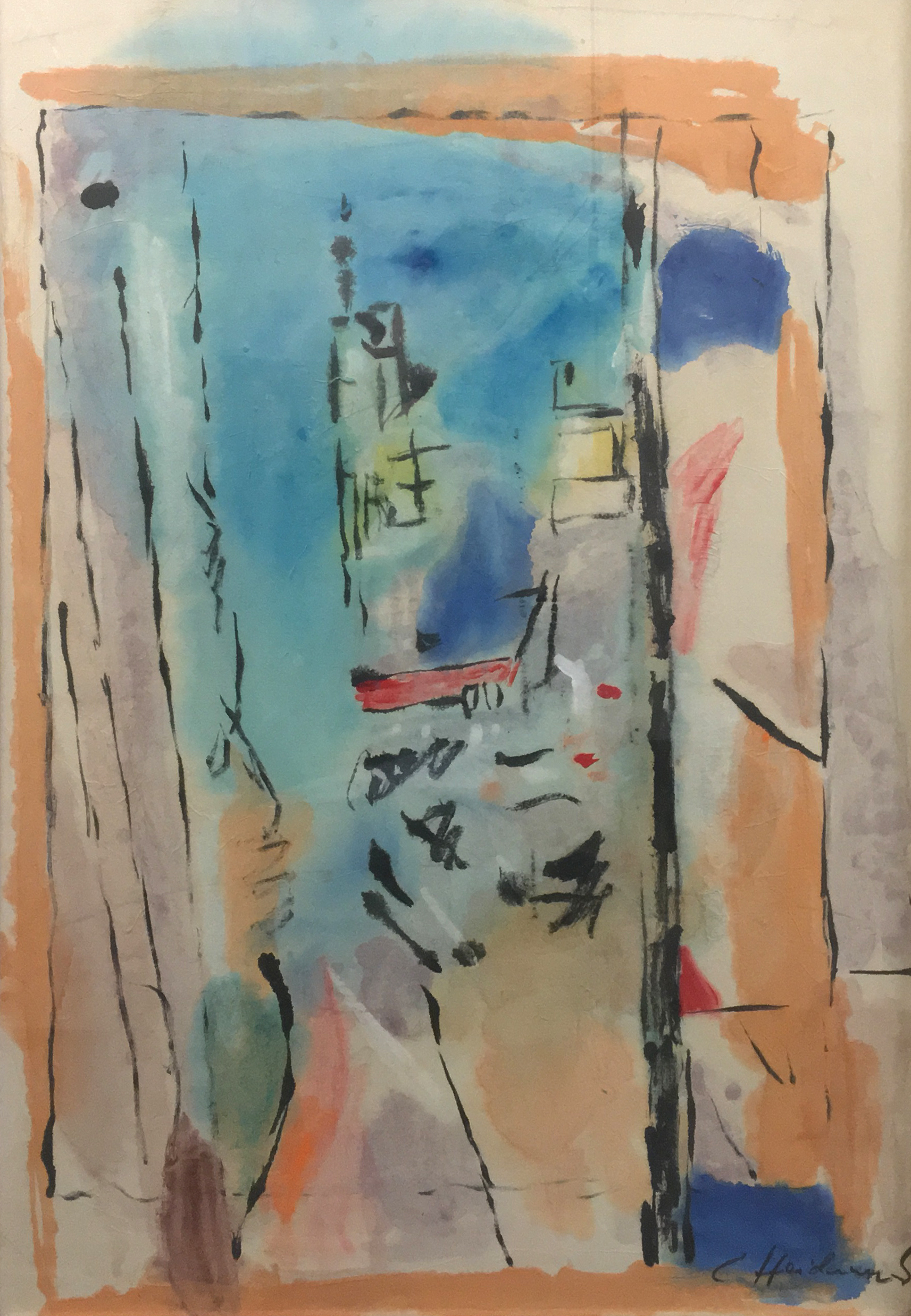 CARL HEIDENREICH,  WINDOW VIEW,  CIRCA 1960. MIXED MEDIA ON PAPER. 32 X 23 INCHES. COLLECTION OF THE CARL HEIDENREICH FOUNDATION.