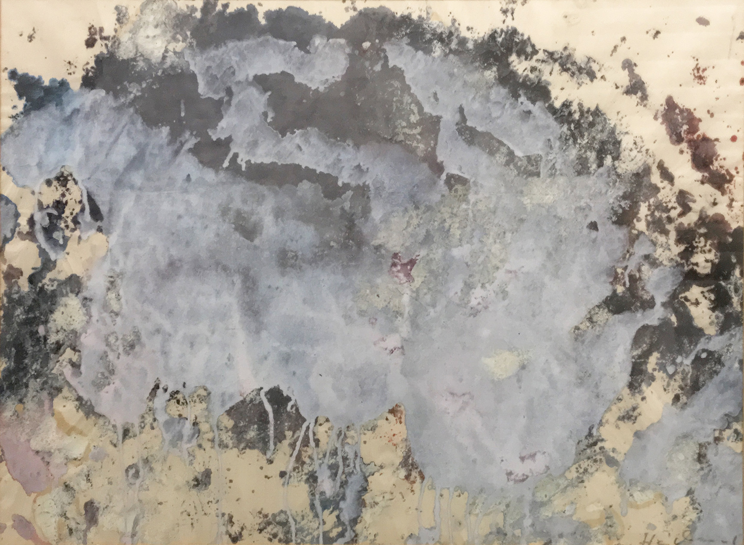 CARL HEIDENREICH,  UNTITLED  (LANDSCAPE IN WHITE AND BLUE), CIRCA 1961. WATERCOLOR ON PAPER. 21 X 29 INCHES. COLLECTION OF THE CARL HEIDENREICH FOUNDATION.