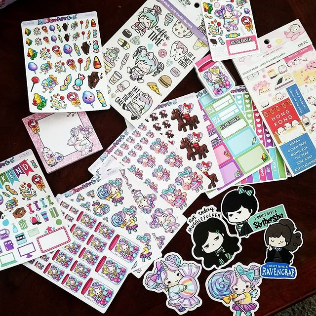 """This week's sticker haul 😱 I picked some sticker books up at Michael's, and then came home to a bunch of happy mail from some of my favorite etsy shops 😍 Super excited to decorate my planner with these. . Relatedly, someone said my planner was """"really girly"""" for a Ph.D student. I responded: *I* am """"really girly."""" After too many years in the video game community, I'm tired of presenting as a """"tomboy"""" just to console some guy's egos. I sew, I code, I bake, I do stats, I write calligraphy, I love syntax trees, I wear heels, I read Habermas, and I use face masks 🤷♀️ And if a non-ciswoman Ph.D loved all these things, they should be allowed to express that too. . . . . . #planner #plannersupplies #stickers #planners #plannercommunity #sticker #stickeraddict #planneraddict #plannergirl #etsy #stickerlover #gradlife"""