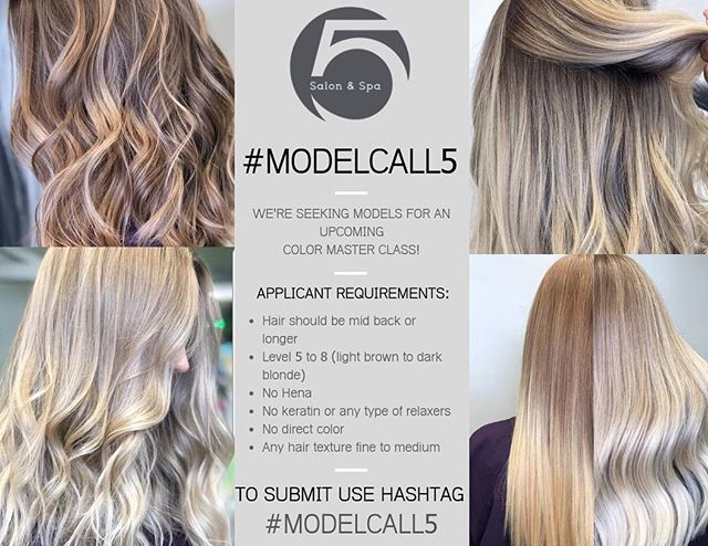 The incredible @5salonspa is seeking models for their upcoming color master class!!! 💇♀️ Their team is amazing so check them out and see if you're the perfect fit 😊 #5salonspa #modelcall5