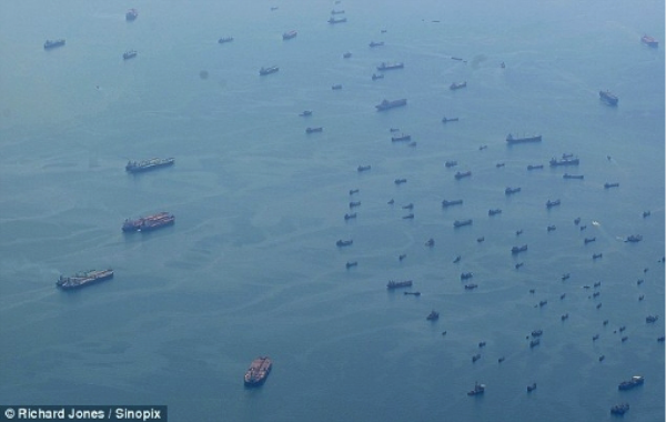 Aerial view of part of the Ghost Fleet - lying at anchor near Singapore - Photo courtesy of Richard Jones - Sinopix.