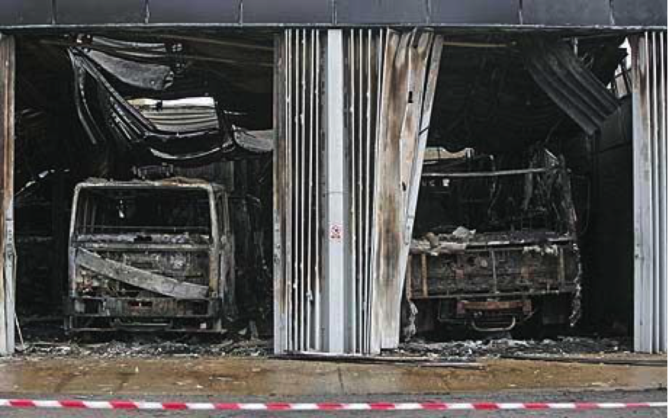 In May, 2009, 11 fire-fighting vehicles were destroyed in a Training Fire-fighting facility in the UK - Photo courtesy Adam Gasson