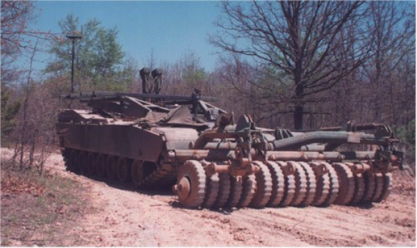 This Modified US M60 Patton tank - known as the M60 Panther - is used for mine-clearance operations within former war-zones.