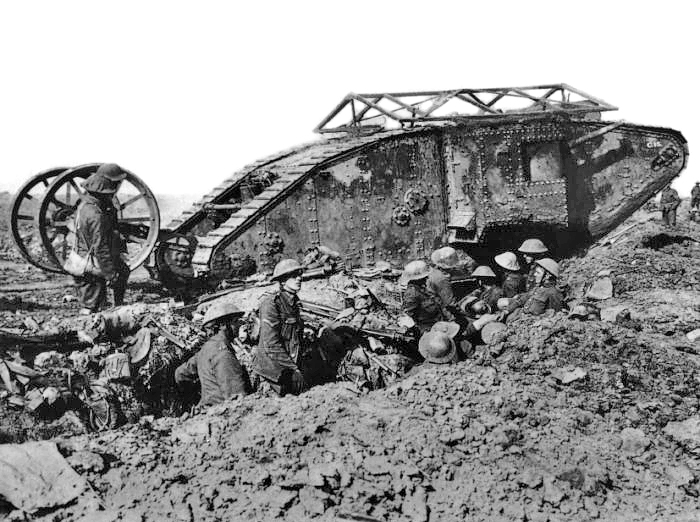 A Mark V tank of the Royal Tank Corps, supports Australians – Battle of Amiens, August 1918