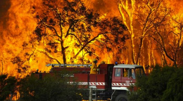 A Victorian CFA fire-crew in action during the Black Saturday Bushfire catastrophe of 2009.