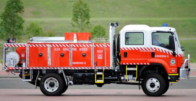 NSW RFS Heavy tanker — Izuzu chassis; village and multipurpose crew cab (Image via RFS) It holds 3,500 litres of water, plus a 40 litre foam concentrator storage unit.
