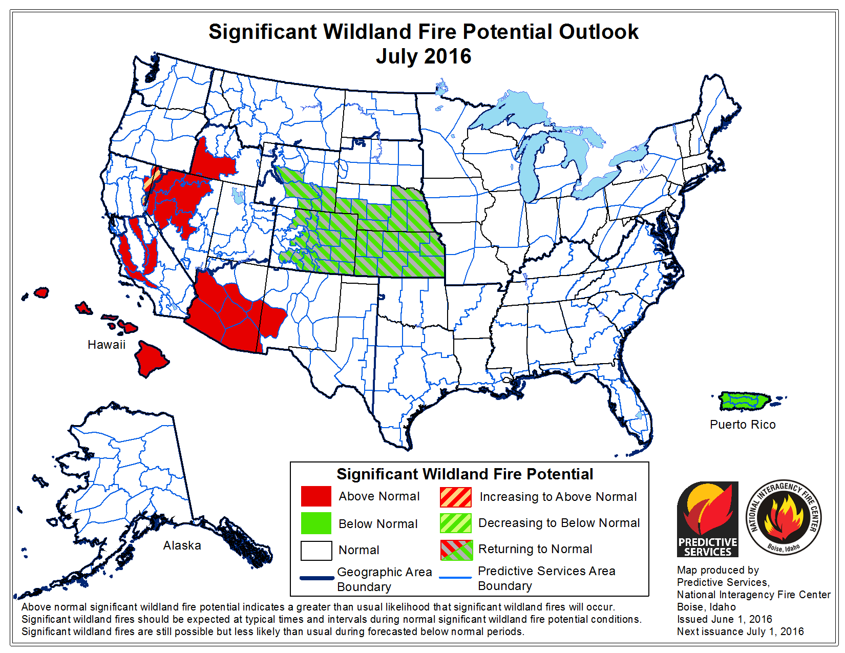 Significant Wildfire Potential Outlook - July 2016