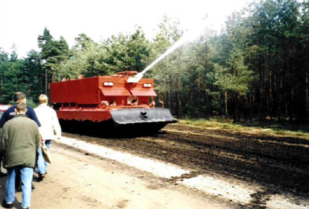 The dedicated armoured fire-fighting vehicle Loeshpanzer – based upon the Leopard 1 tank chassis.