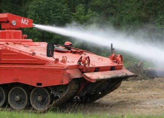 The KLF Marder  – a German designed fire-fighting vehicle based upon a military Armoured Personnel Carrier [APC].