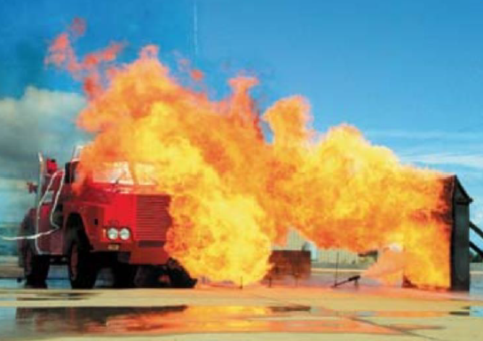 The Fireking undergoing CSIRO testing - perhaps the only Australian fire-fighting vehicle capable of surviving this 20-minute test.