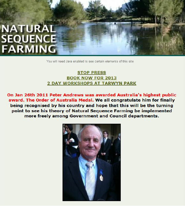 After 30 years of pioneering work in Natural Sequence Farming, Peter was awarded the Order of Australia Medal in 2011.